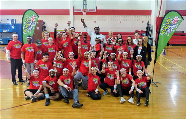 "Liberty Middle School Meets NY Jets Center Jonotthan Harrison and ""Fuel Up to Play 60"""
