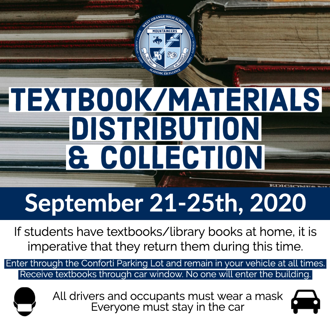 West Orange High School - TEXTBOOK/MATERIALS⁣ DISTRIBUTION & COLLECTION